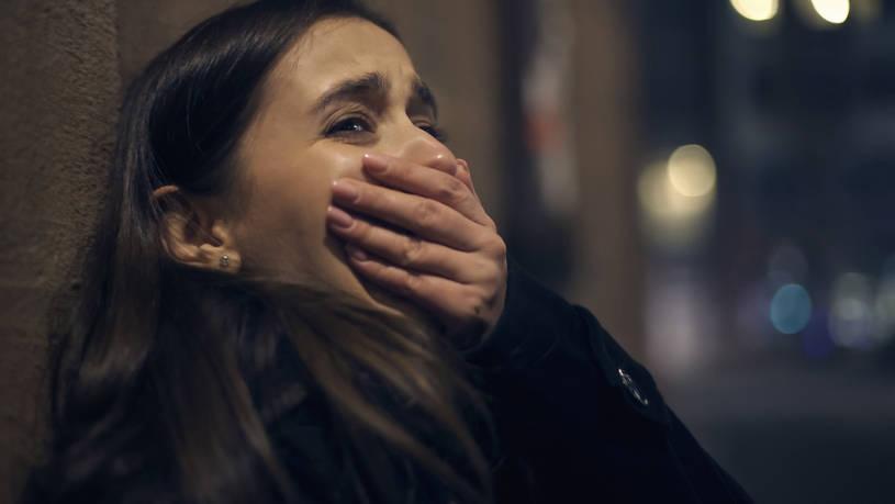 Woman having panic attack.