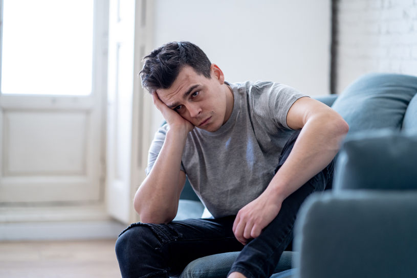Young man felling depressed without alcohol.