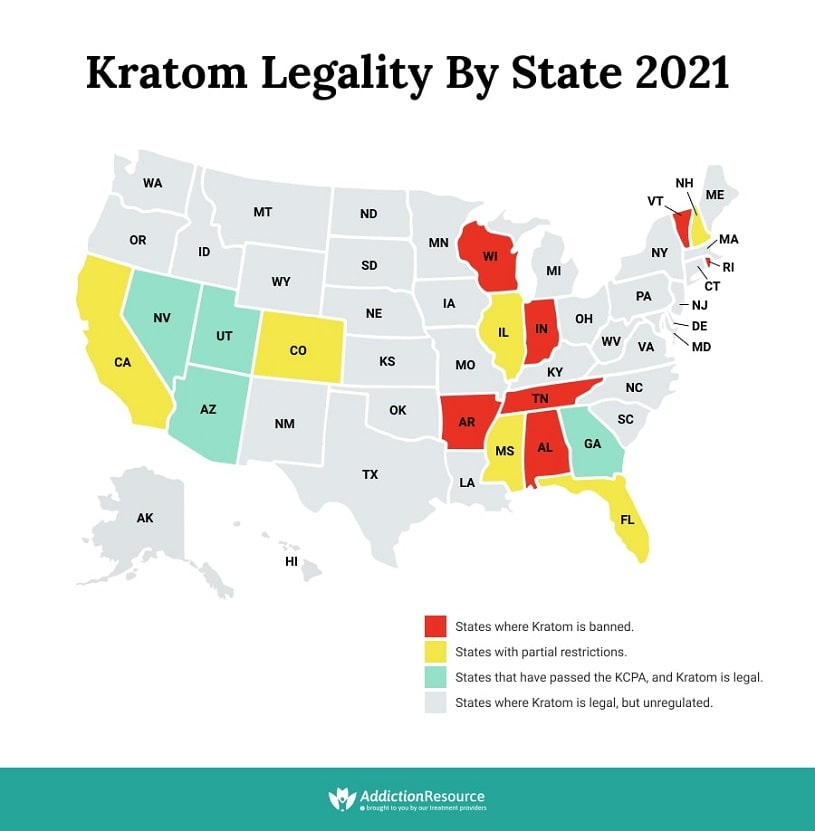 Kratom Legality By State USA map.