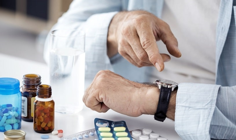 Doctor looking at the watch, time to take Clonidine.