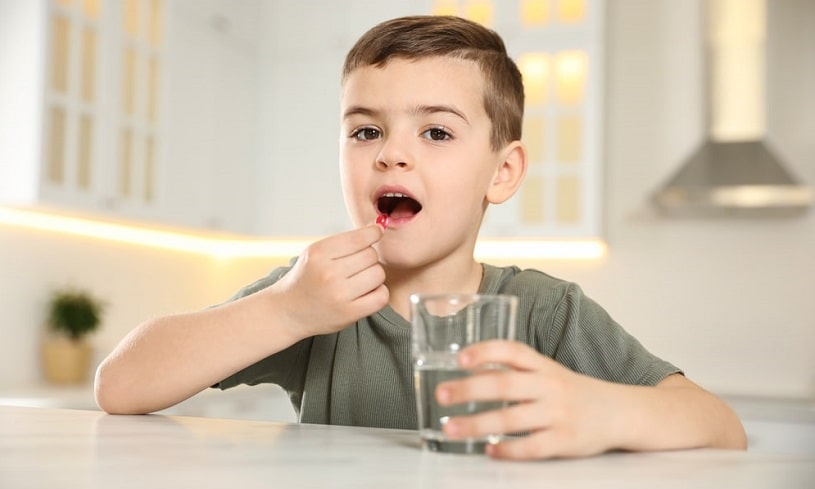 Child with ADHD taking Ritalin medication.