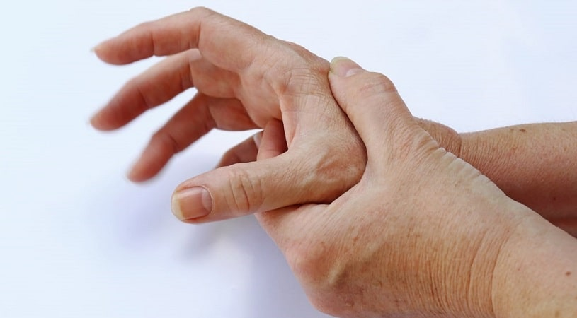 Man with pain in hus hands.