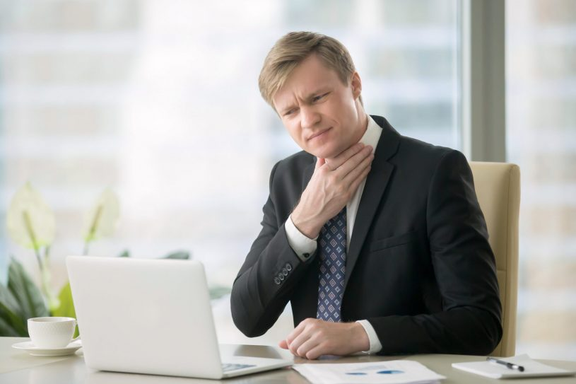 Man Suffers from Sore Throat