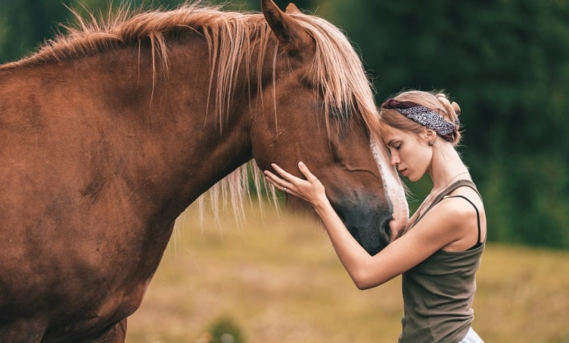 Young girl hugging a horse outdoors.