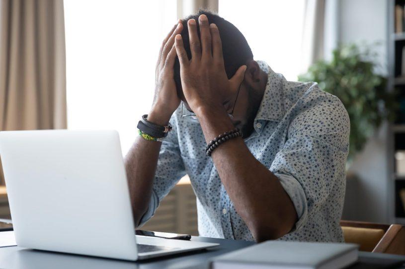 Man is suffering from headache