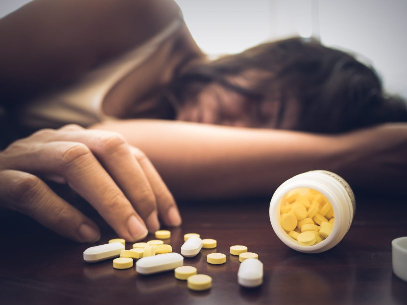 Woman is suffering from drug overdose