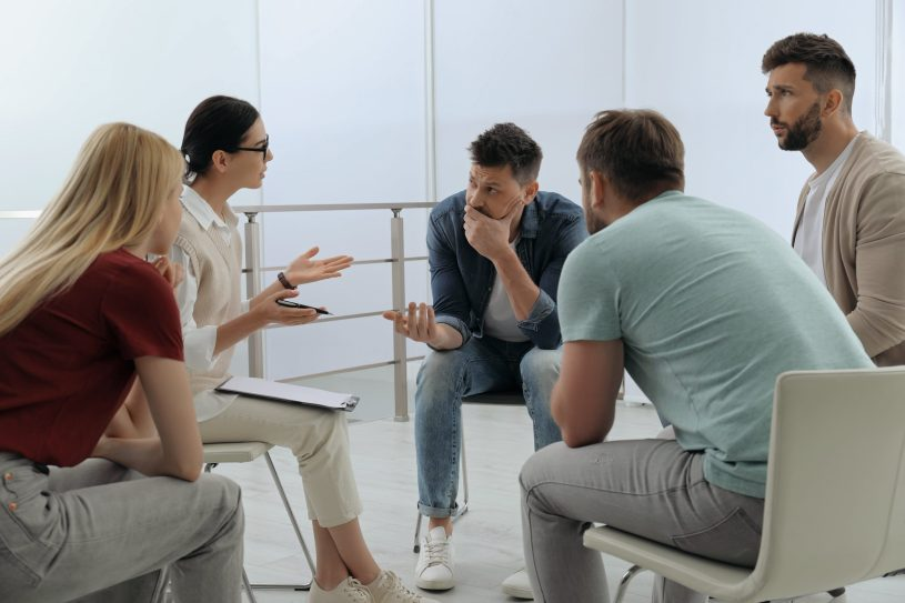 Psychotherapist is working with drug addicted group