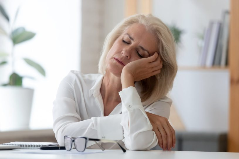 Woman is suffering from tiredness