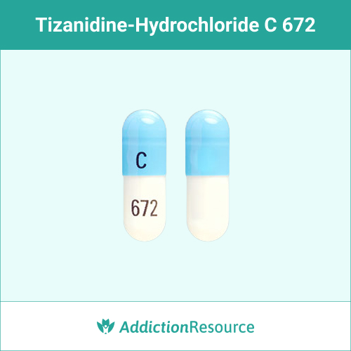 Blue and white C 672 capsule